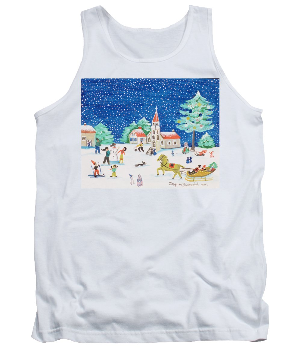 Landscape Tank Top featuring the painting Christmas Joy by Gordana Delosevic