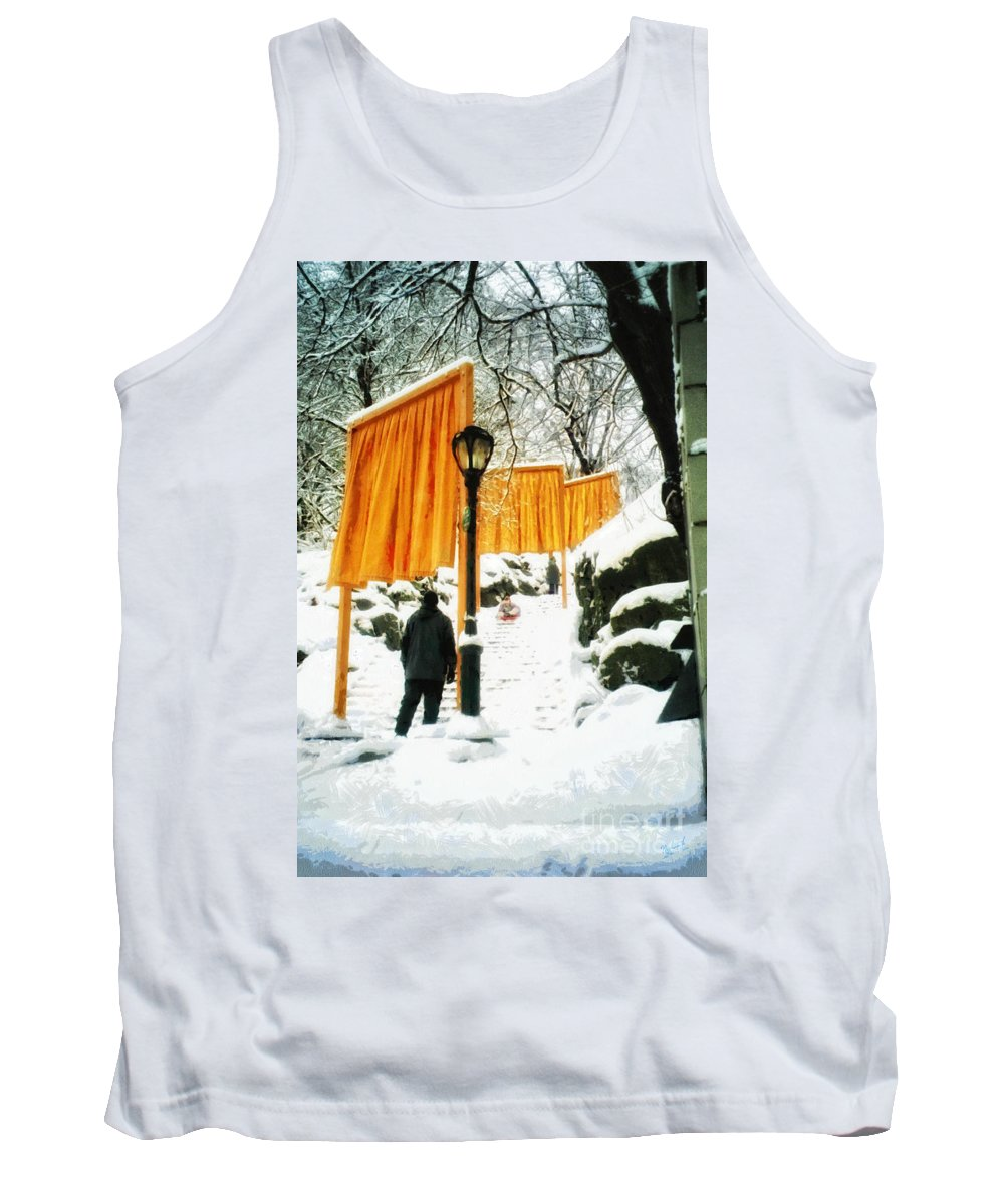 The Gates Tank Top featuring the photograph Christo - The Gates - Project For Central Park In Snow by Nishanth Gopinathan