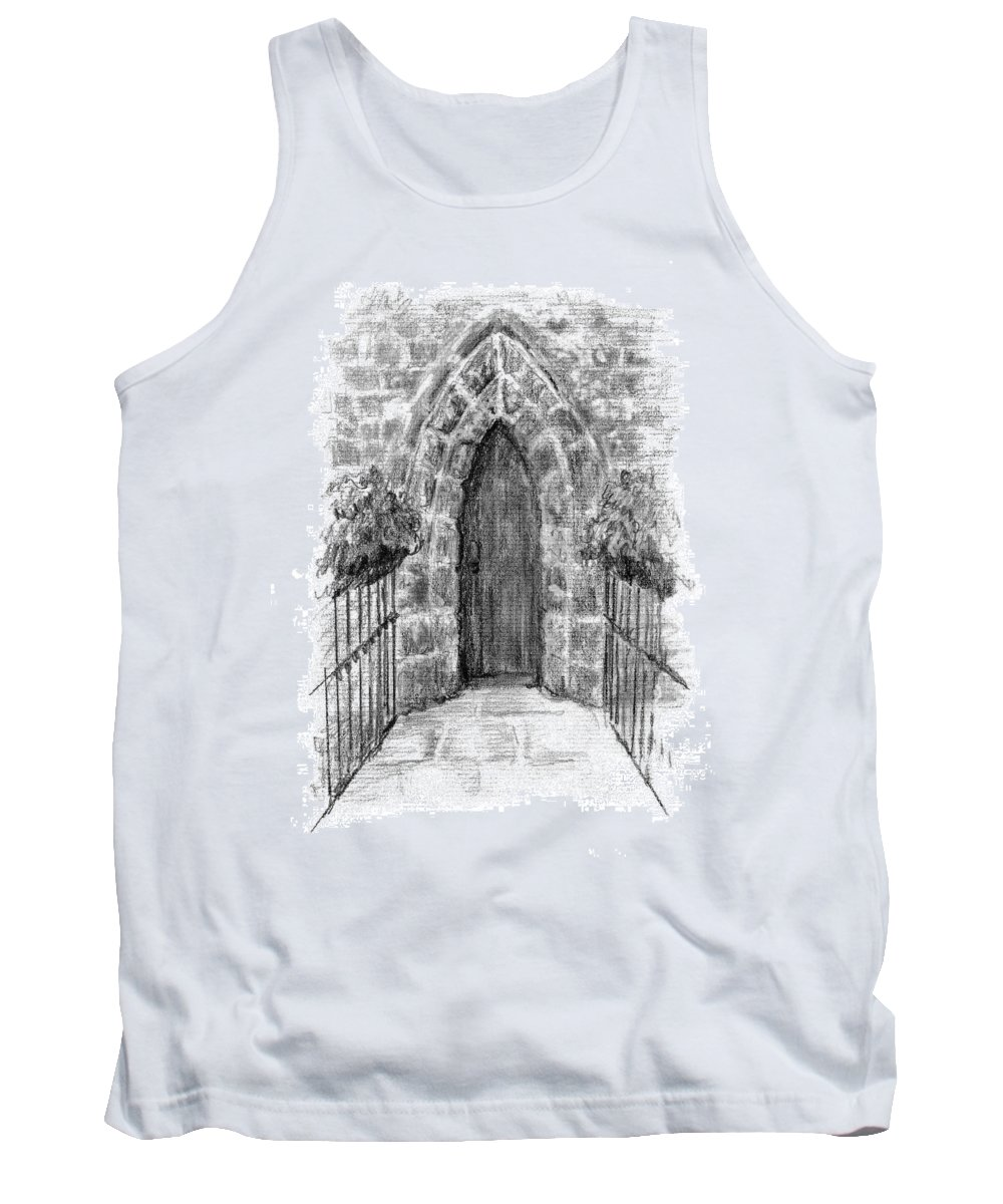Abbey Tank Top featuring the painting English Church Door by Sarah Parks