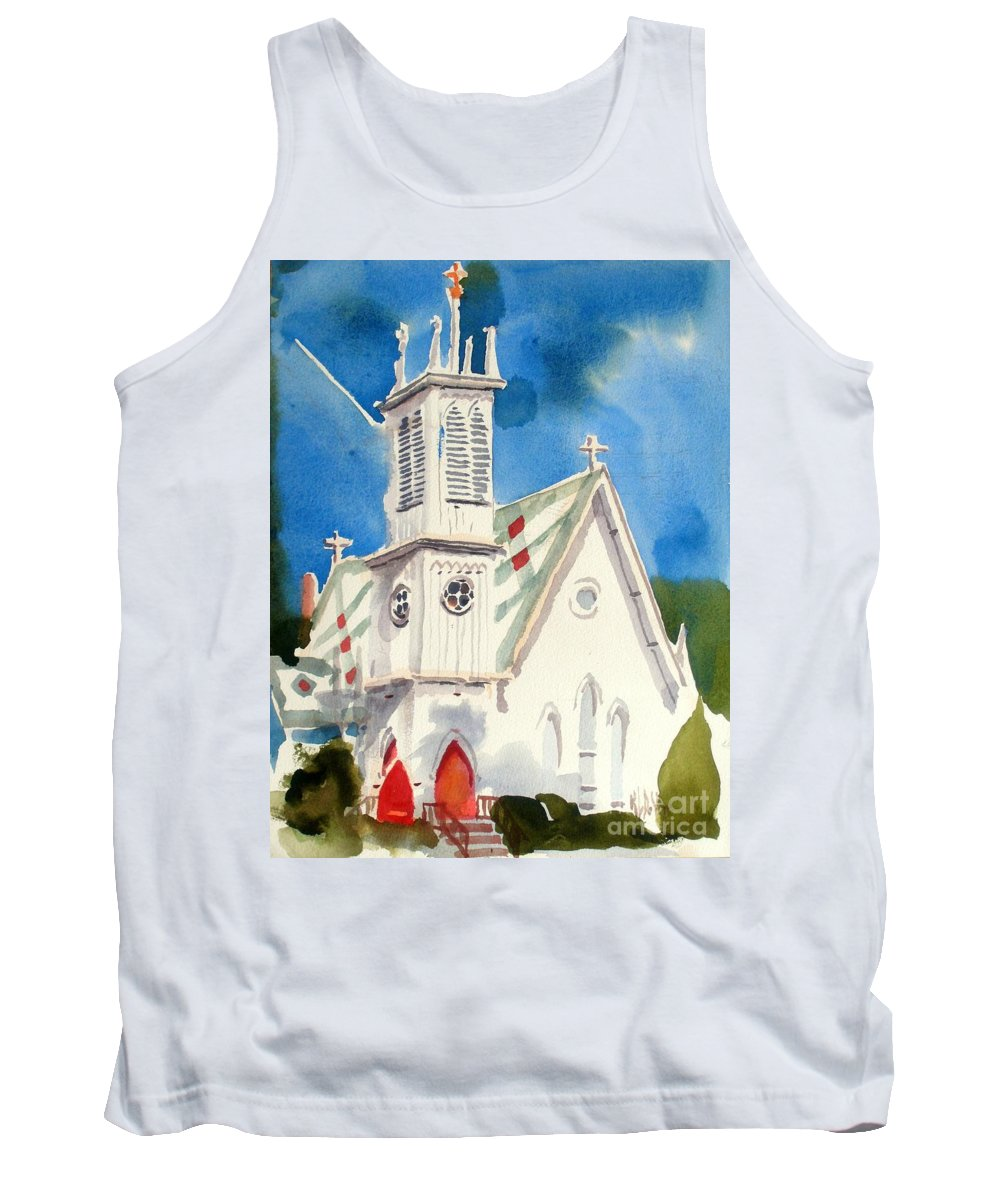 Church Tank Top featuring the painting Church With Jet Contrail by Kip DeVore