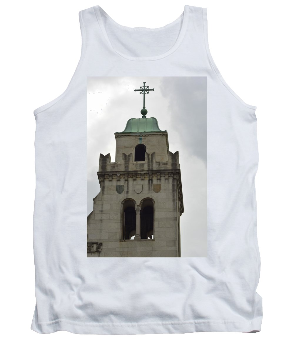 Cross Tank Top featuring the photograph Cincinnati Church With Angel Carving And Bronze Cross by Kathy Barney