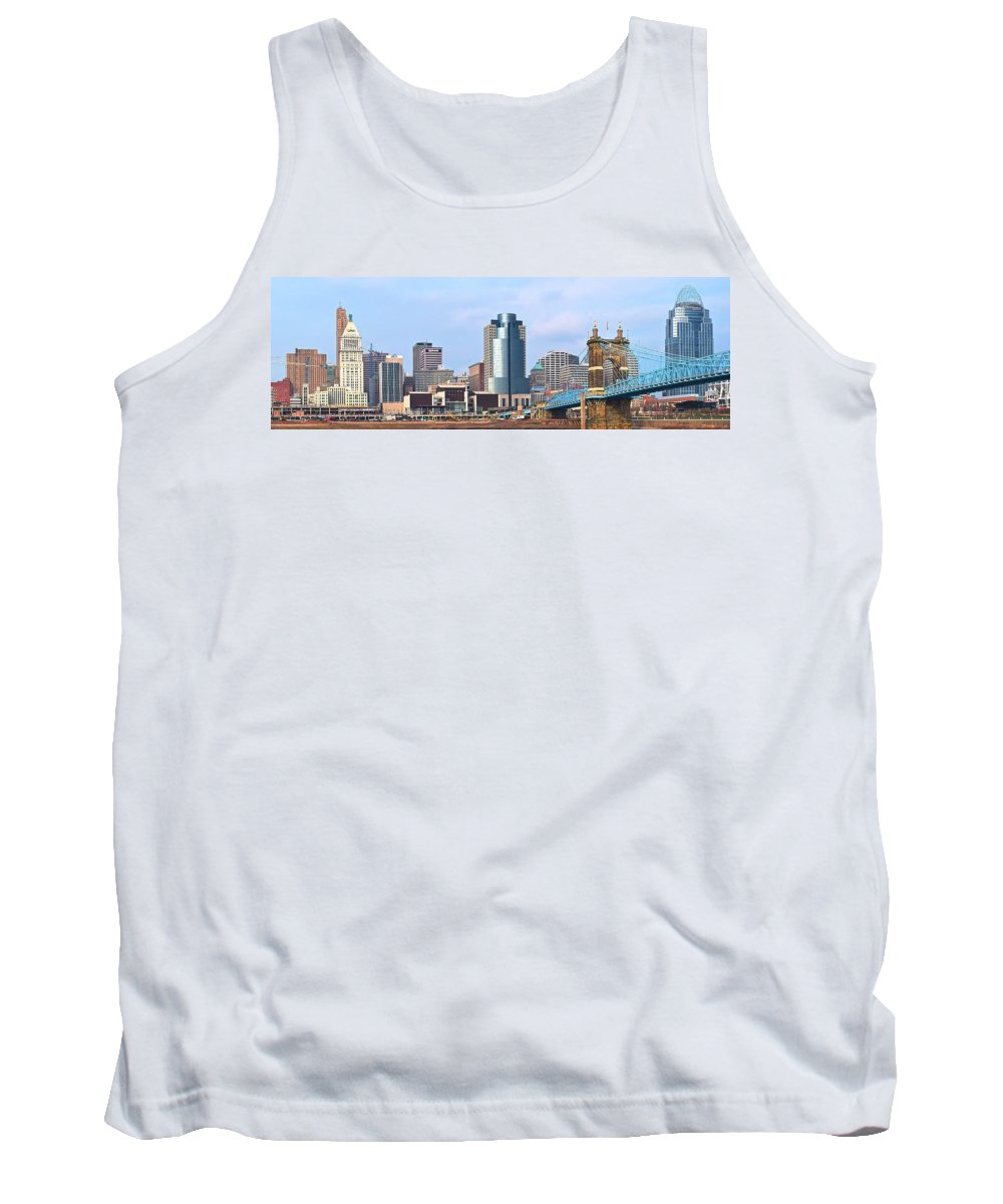 Cincinnati Tank Top featuring the photograph Cincinnati Panoramic Skyline by Frozen in Time Fine Art Photography