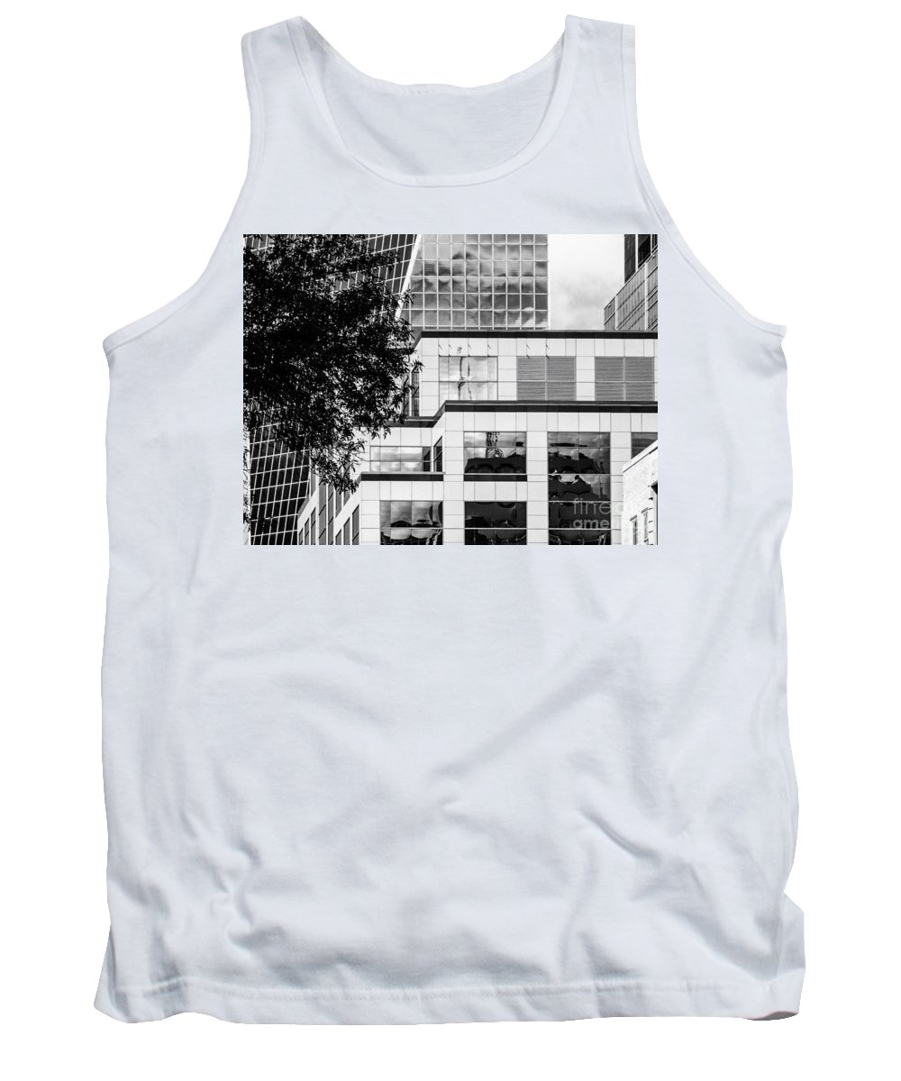 Black And White Reflections Tank Top featuring the photograph City Center-93 by David Fabian