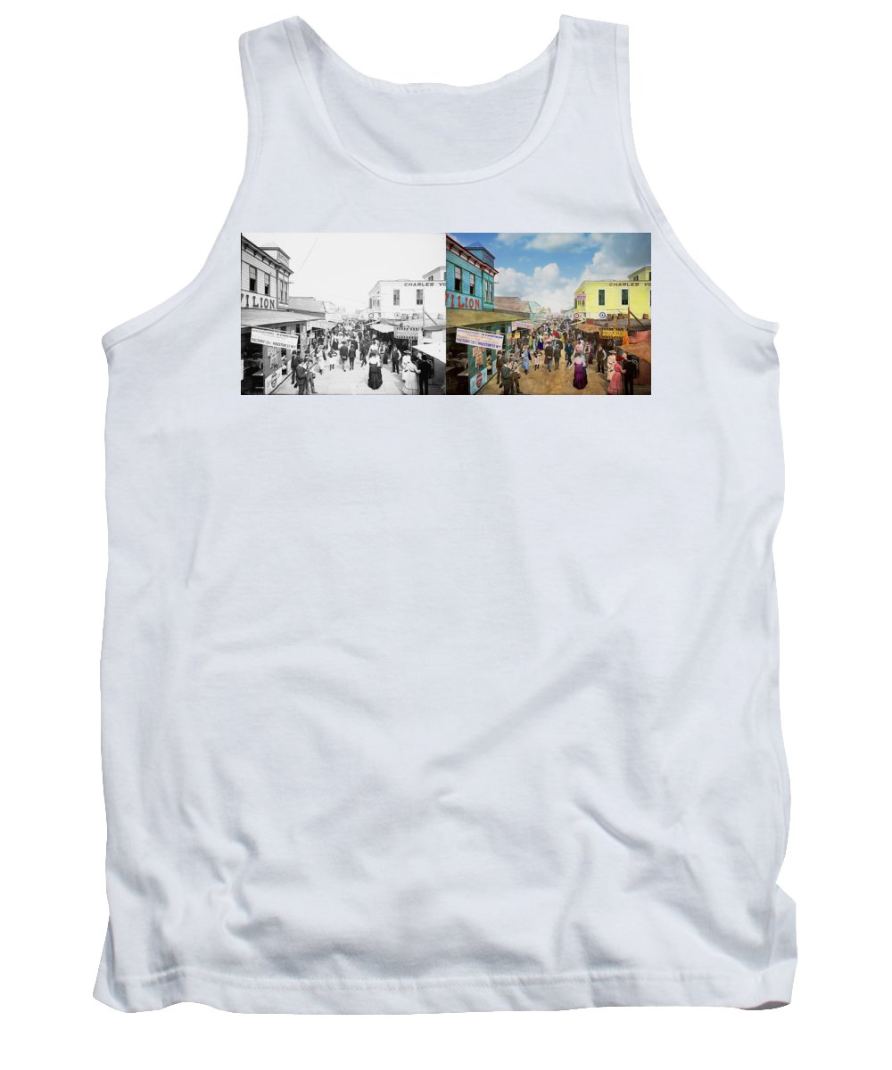 Bowery Tank Top featuring the photograph City - Ny - The Bowery 1900 - Side By Side by Mike Savad