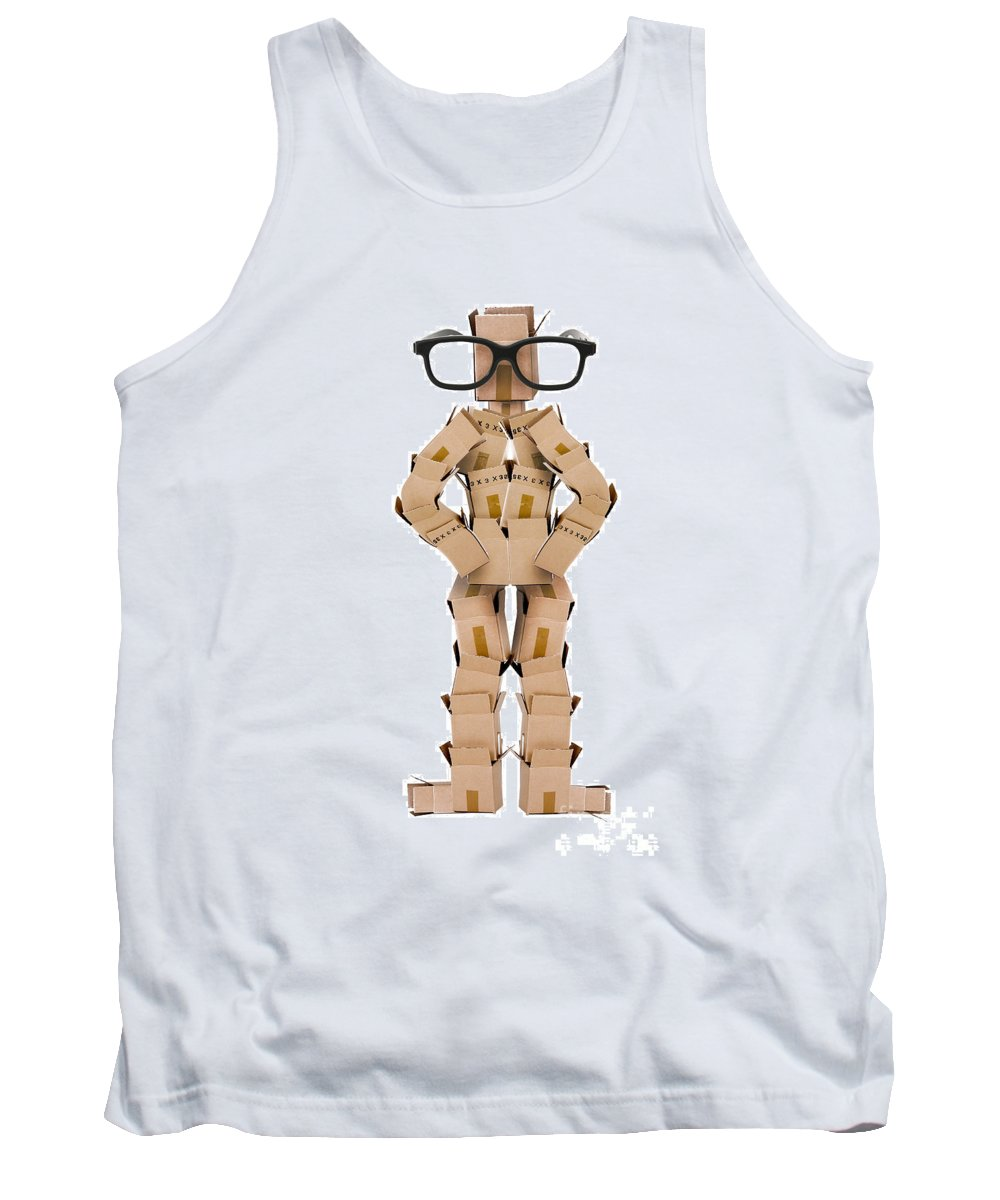 Clever Tank Top featuring the photograph Clever Box Character Wearing Glasses by Simon Bratt Photography LRPS