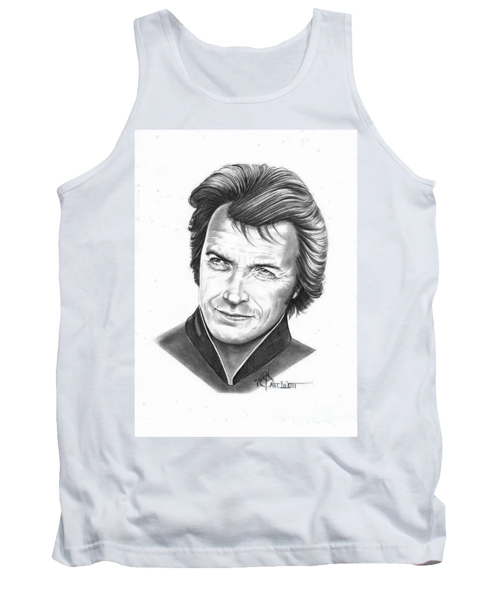 Portrait Tank Top featuring the drawing Clint Eastwood by Murphy Elliott