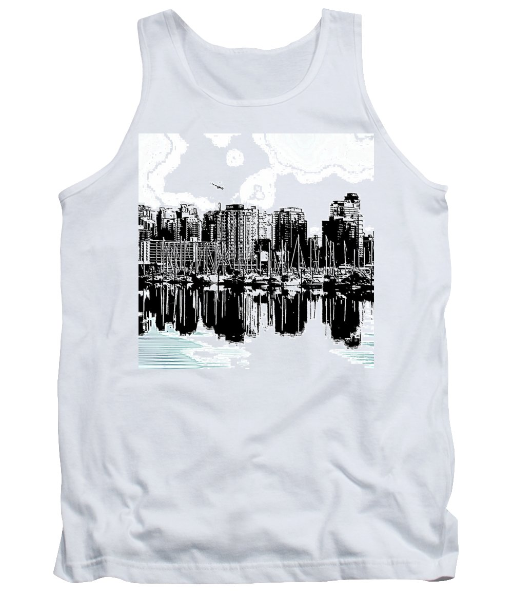 Vancouver Tank Top featuring the digital art Vancouver Canada Coal Harbour Centre Panel by Patricia Keith