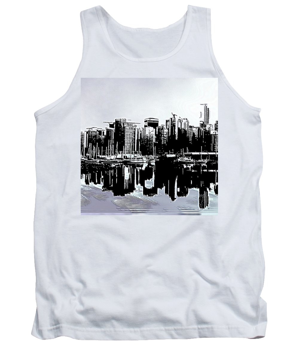 Vancouver Tank Top featuring the digital art Vancouver Canada Coal Harbour Triptych Left Panel by Patricia Keith
