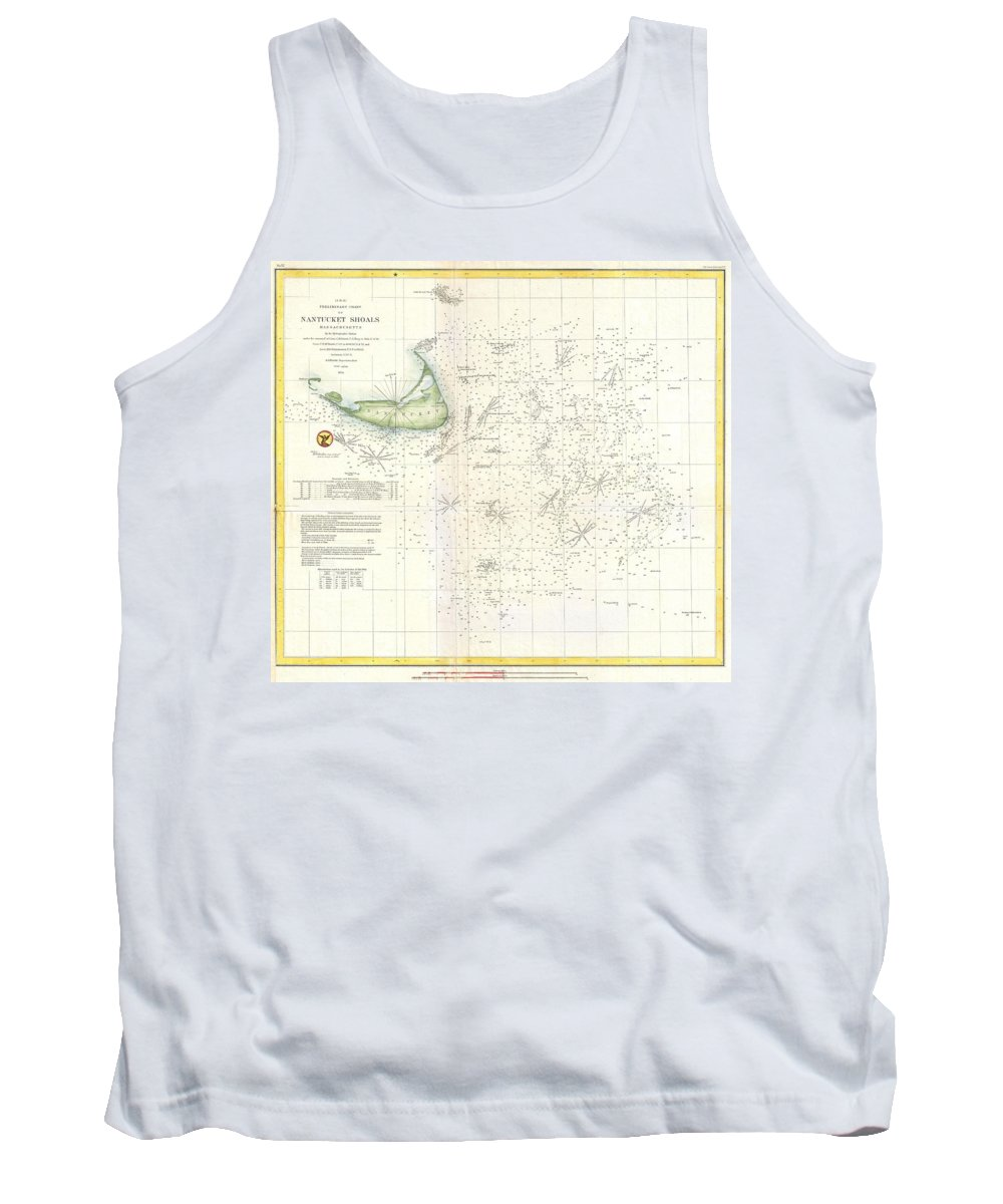 Tank Top featuring the photograph Coast Survey Nautical Chart Or Map Of Nantucket Massachusetts by Paul Fearn