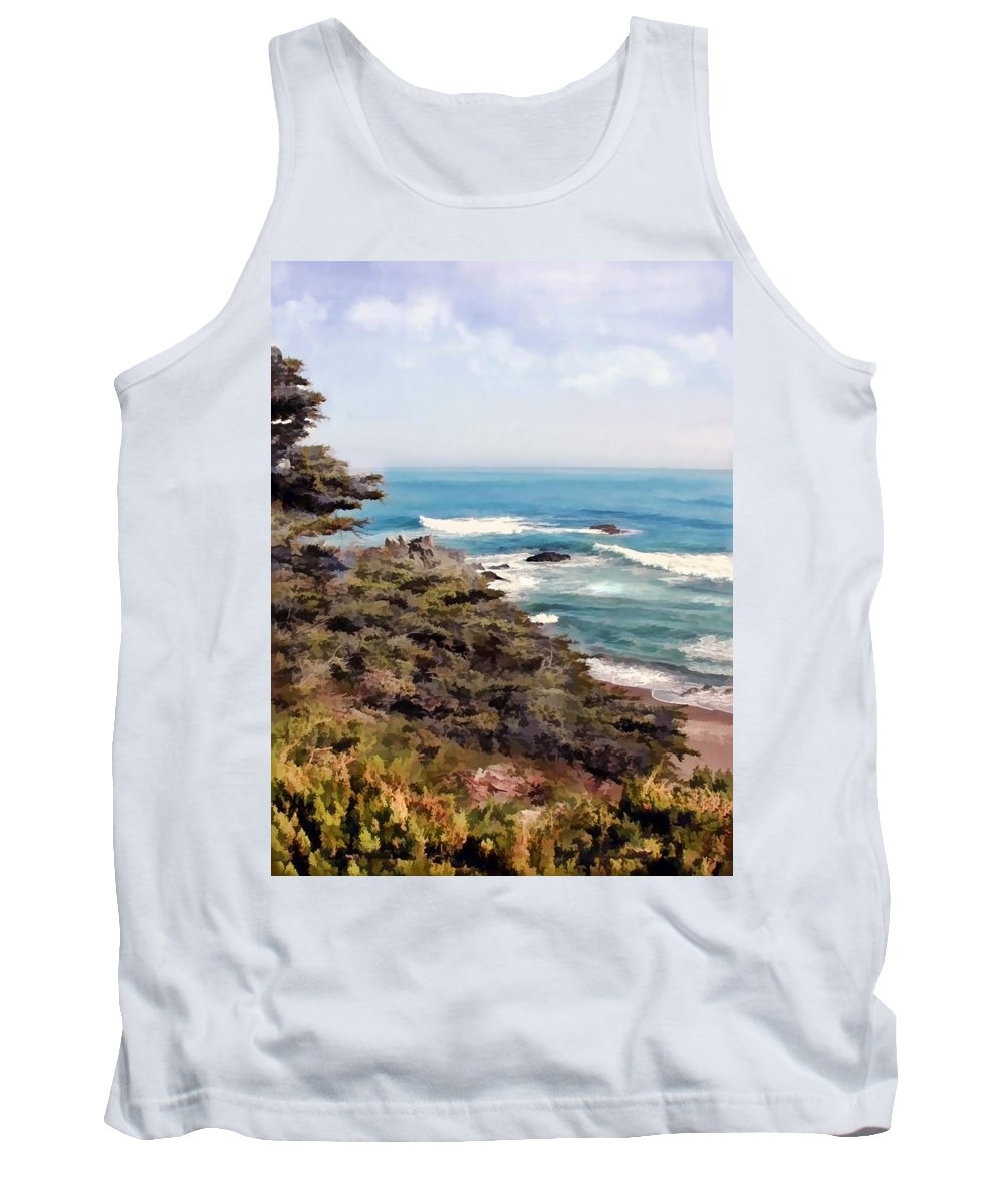 California Tank Top featuring the painting Coastal Sky And Evergreens by Elaine Plesser