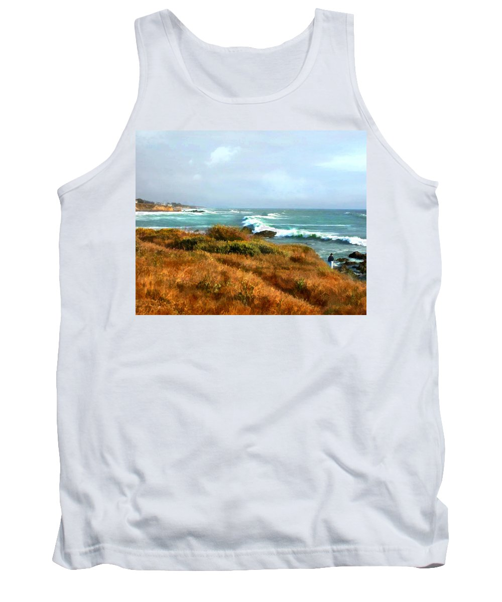 Landscape Tank Top featuring the painting Coastal Waves Roll In To Shore by Elaine Plesser