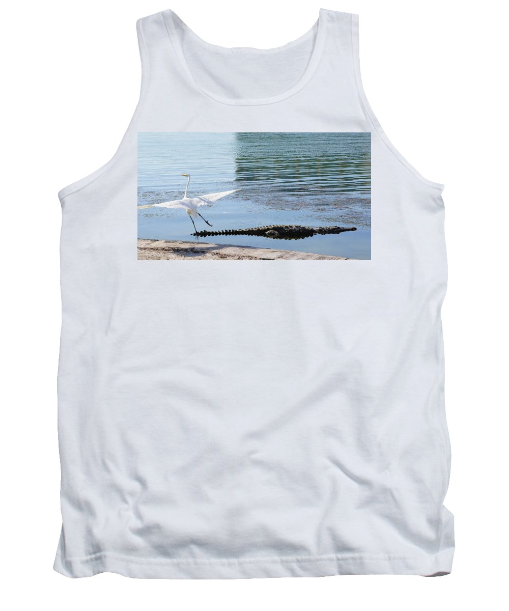 Crocodile Tank Top featuring the photograph Crocodile In Cancun by Hans Heinz