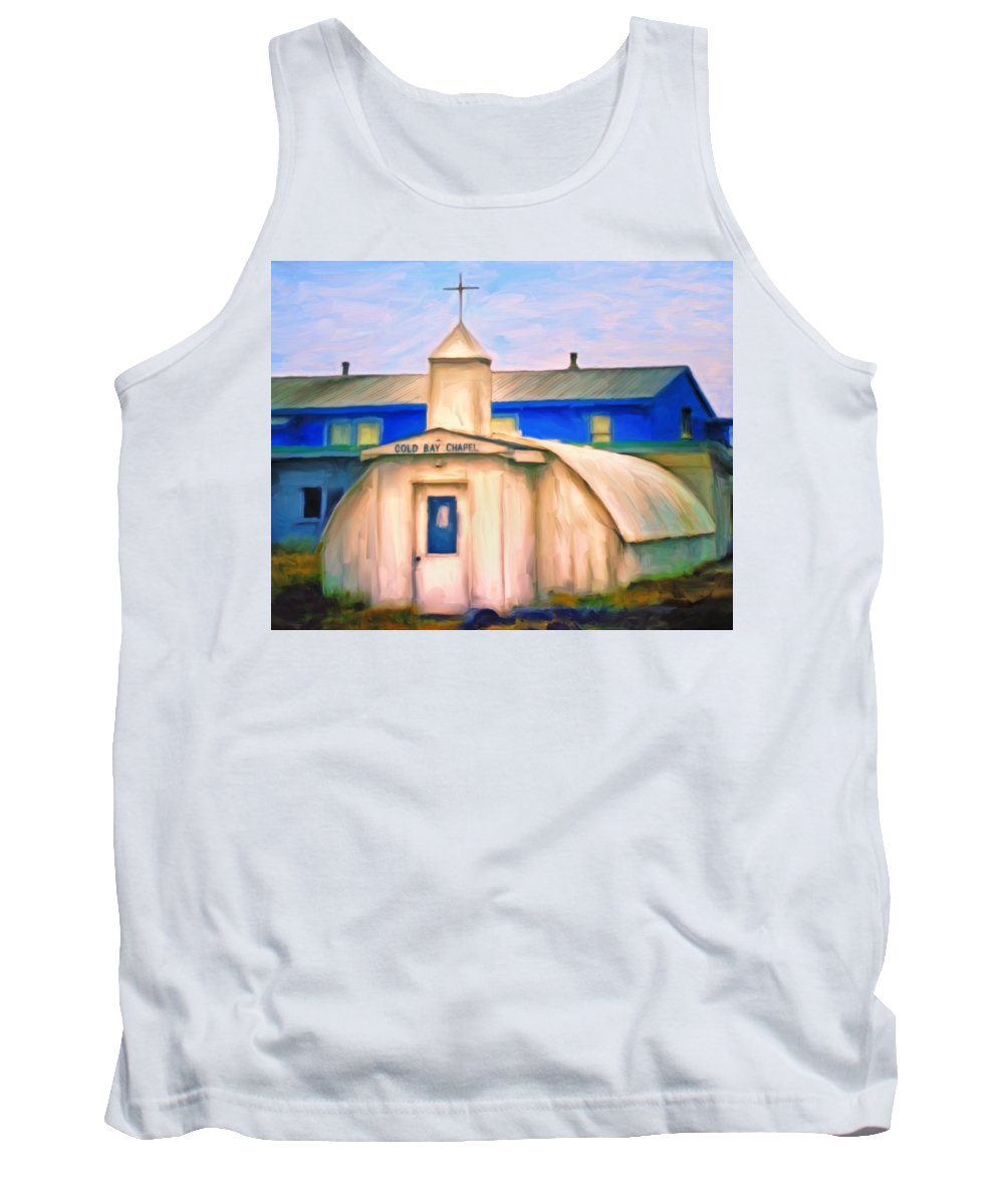 Old Church Tank Top featuring the painting Cold Bay Chapel by Michael Pickett