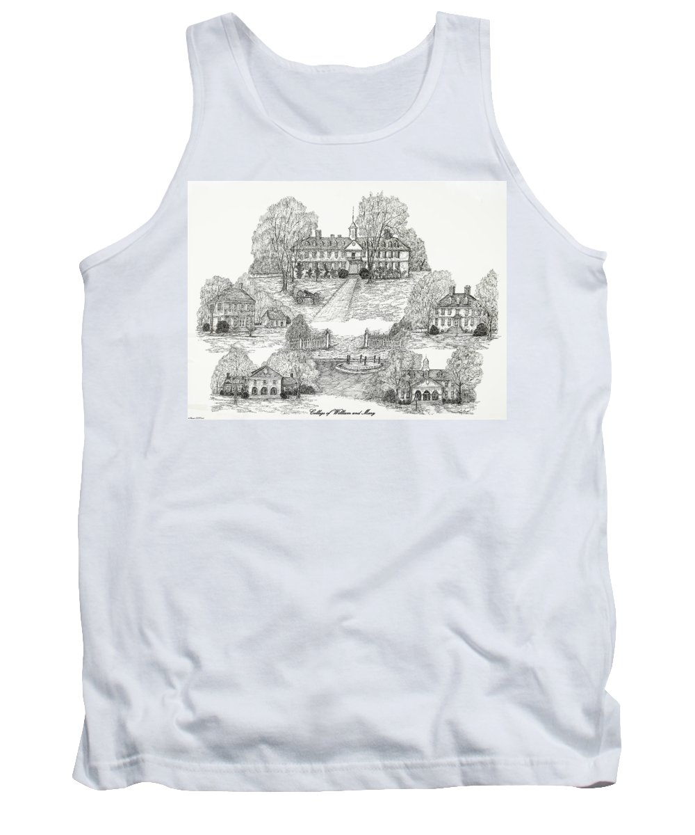 Illustrations Tank Top featuring the painting College Of William And Mary by Jessica Bryant