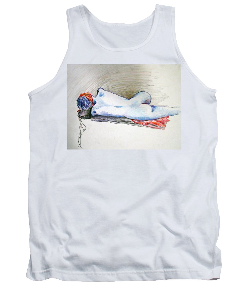 Nude Tank Top featuring the painting Color Nude #1 by Jason Gluskin