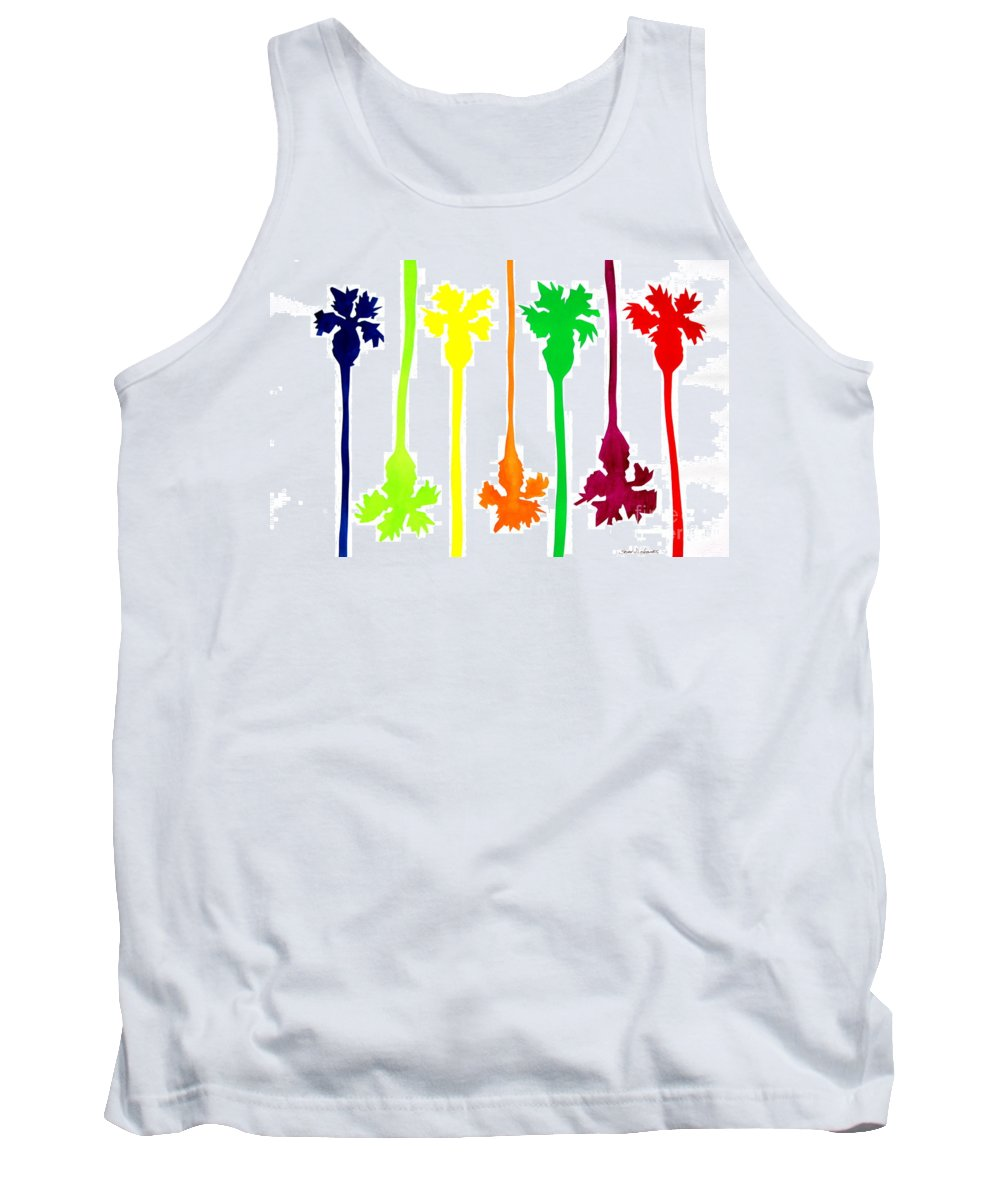 Primary Colors Tank Top featuring the painting Colored Palms by Sean Hughes