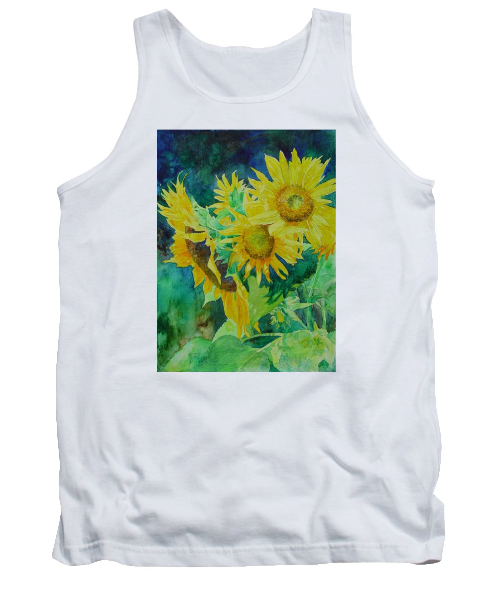 Sunflowers Tank Top featuring the painting Colorful Original Sunflowers Flower Garden Art Artist K. Joann Russell by K Joann Russell