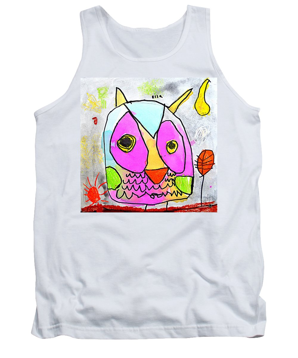 Owl Tank Top featuring the painting colorful Owl by Greg Moores