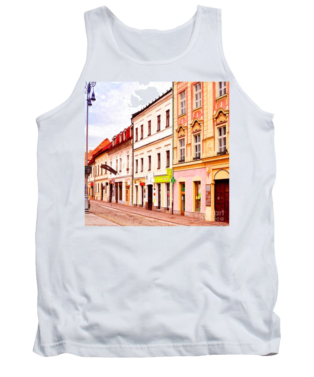 Street Tank Top featuring the photograph Colorful Town Homes by Les Palenik