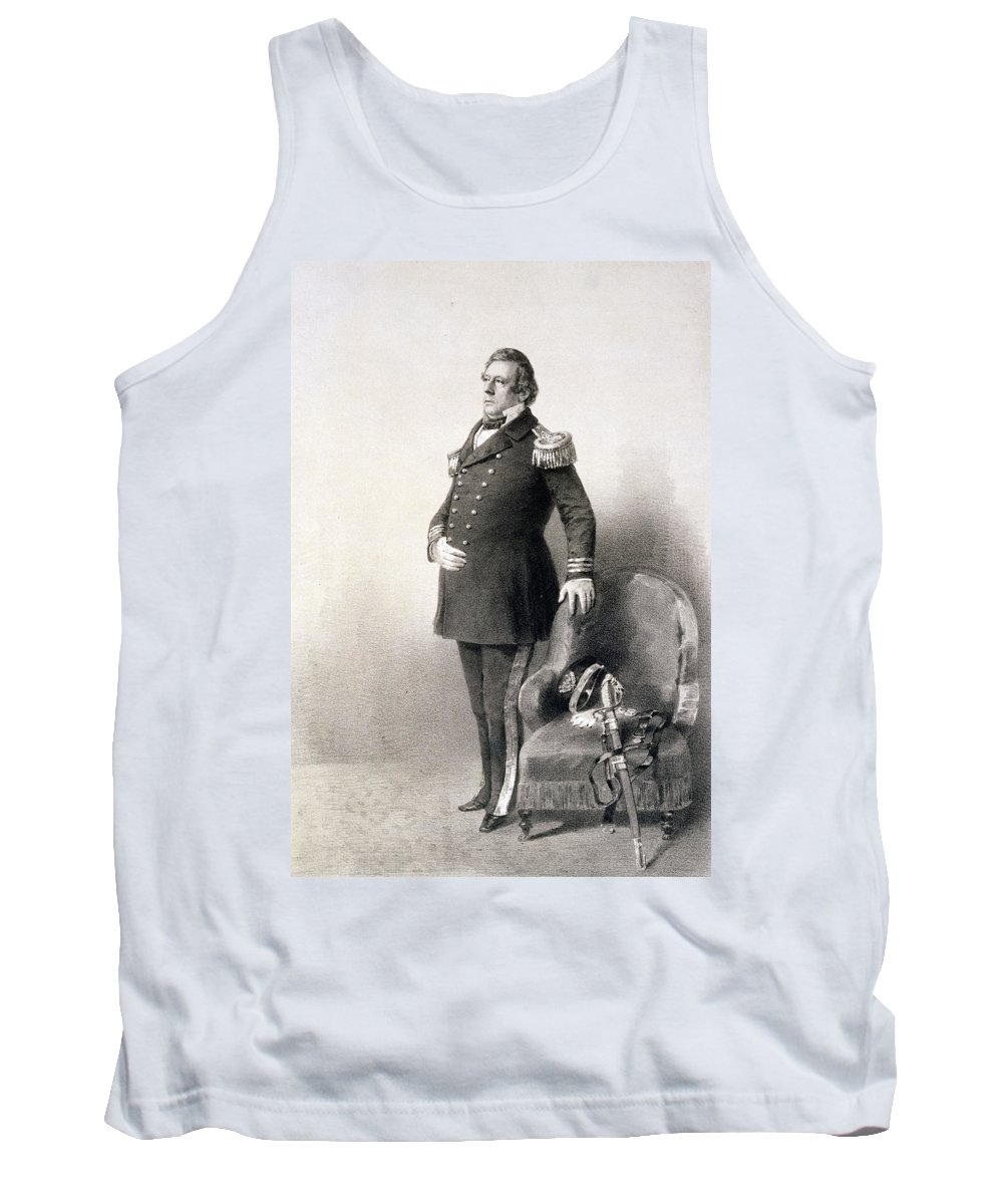 American Naval Officer Tank Top featuring the painting Commodore Matthew Calbraith Perry by Wilhelm Heine