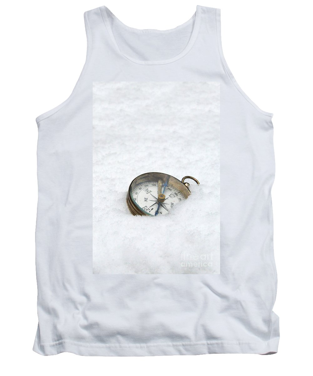 Compass Tank Top featuring the photograph Compass In Snow by Jill Battaglia