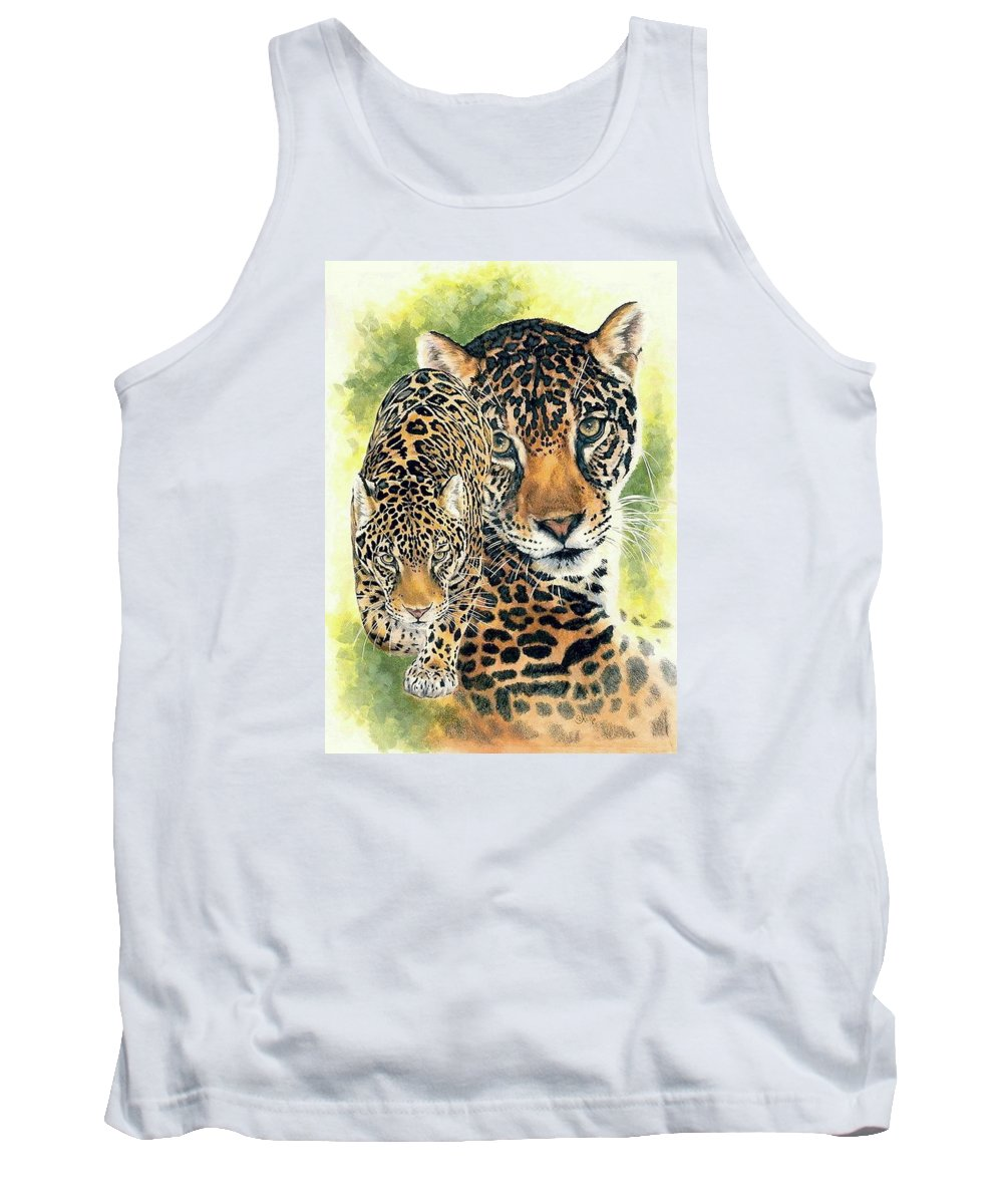 Jaguar Tank Top featuring the mixed media Compelling by Barbara Keith