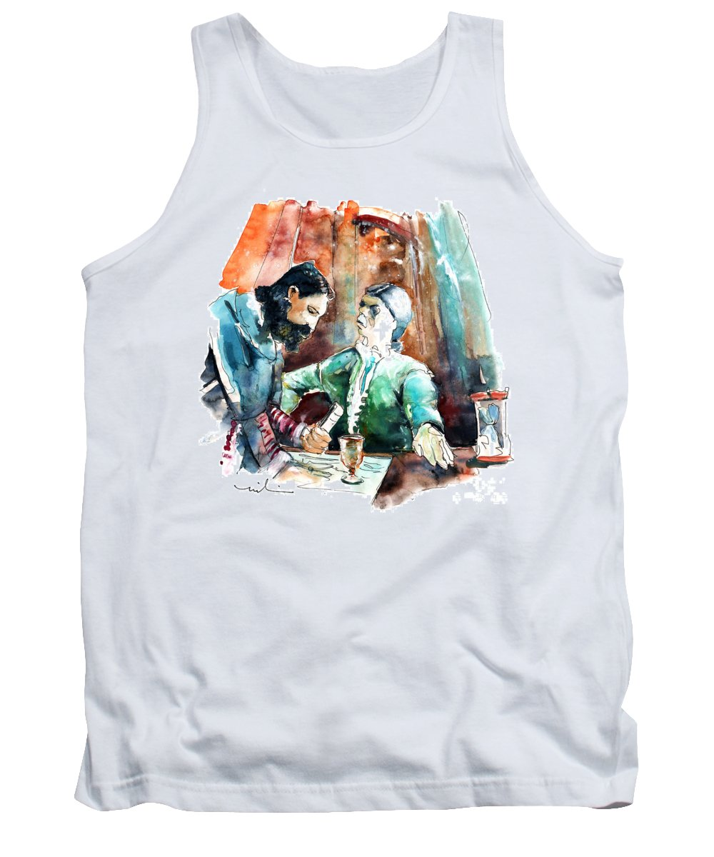 Portugal Tank Top featuring the painting Conquistadores On The Boat In Vila Do Conde In Portugal by Miki De Goodaboom