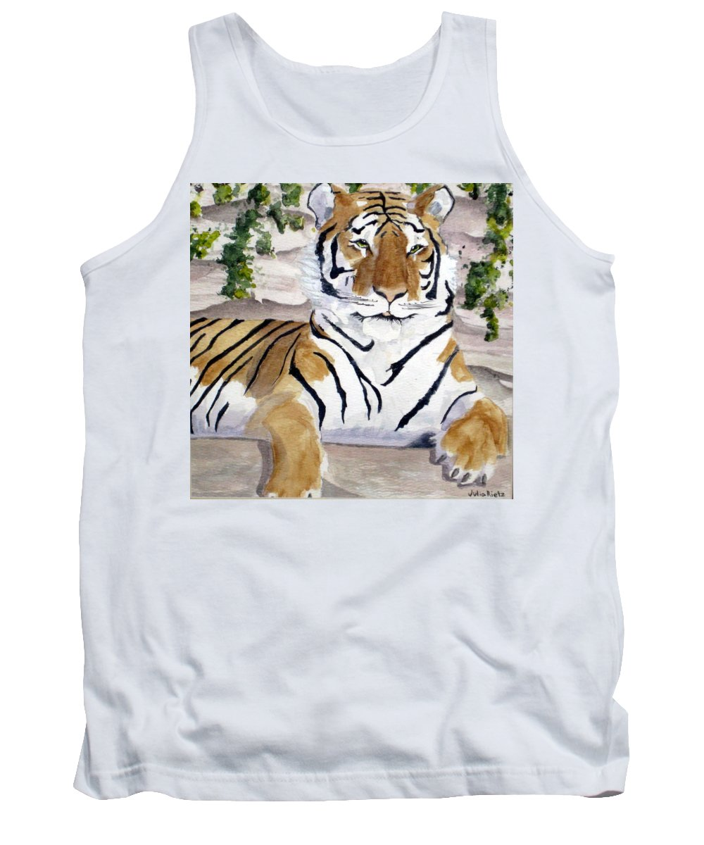 Tiger Tank Top featuring the painting Contemplating Dinner by Julia RIETZ