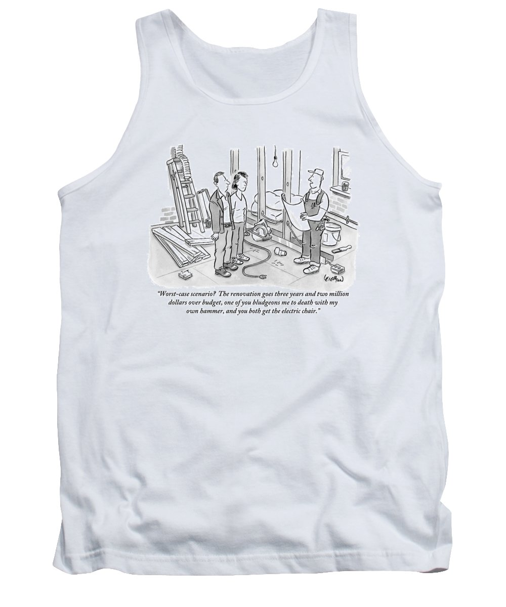 Renovation Tank Top featuring the drawing Contractor Examining A Blueprint And Speaking by Robert Leighton