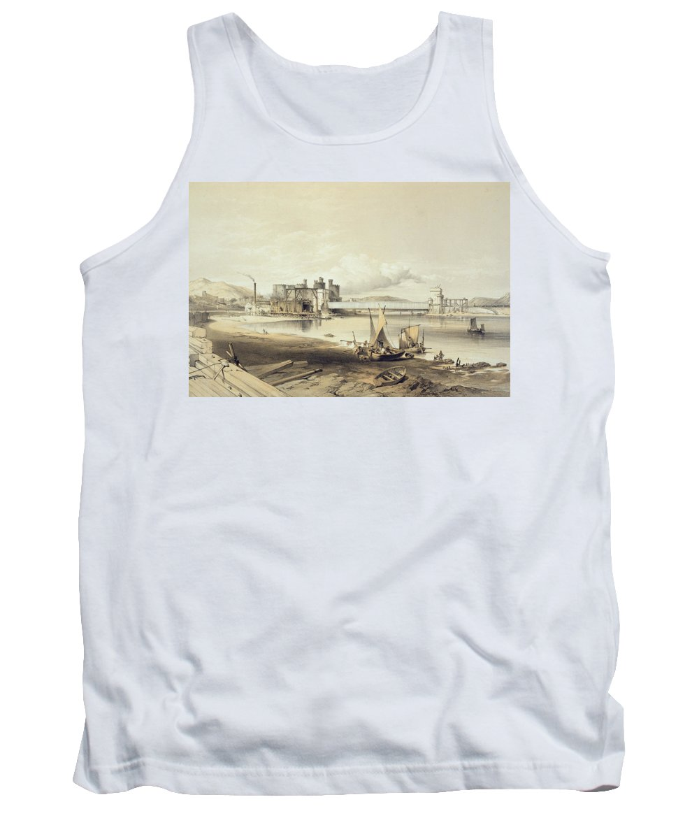 Railway Tank Top featuring the drawing Conway Bridge, Construction Of Second by George Hawkins