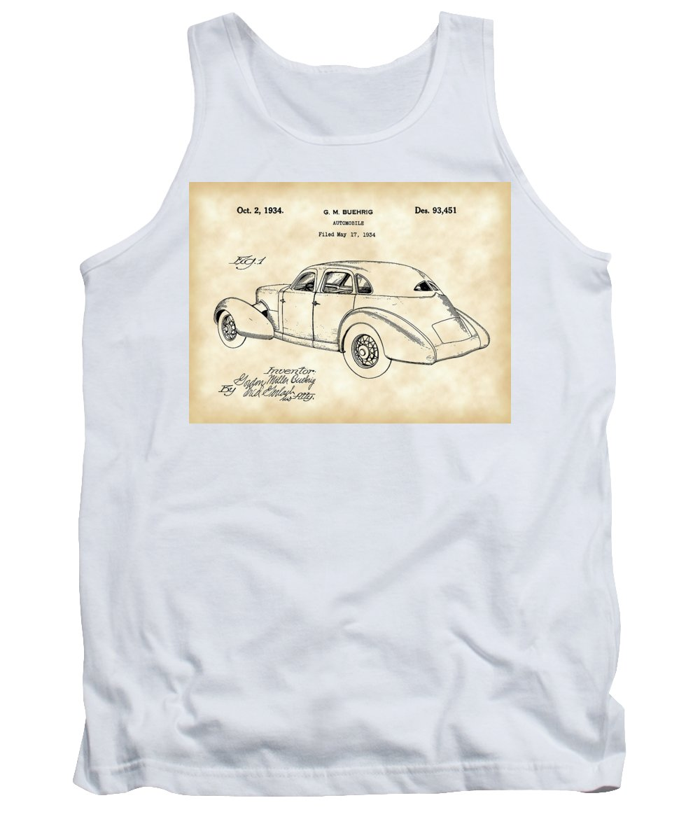 Cord Tank Top featuring the digital art Cord Automobile Patent 1934 - Vintage by Stephen Younts