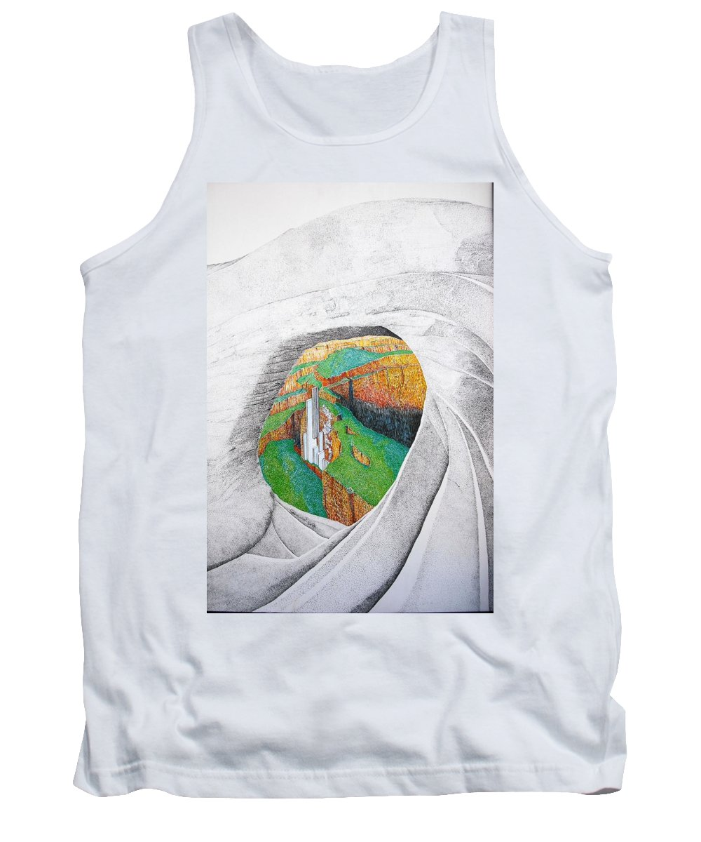 Rocks Tank Top featuring the painting Cornered Stones by A Robert Malcom