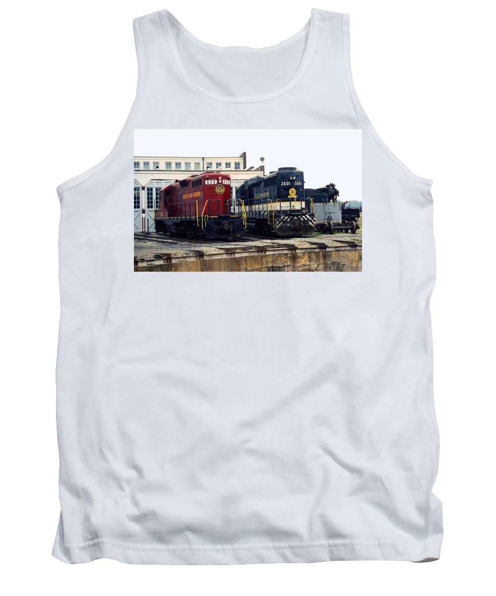 Trains Tank Top featuring the photograph Cousins by Richard Rizzo