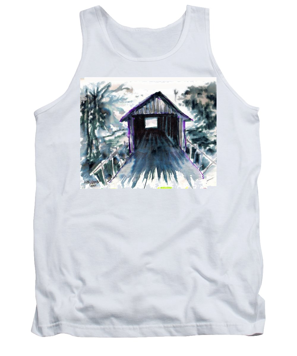 Old South Tank Top featuring the digital art Covered Bridge by Seth Weaver