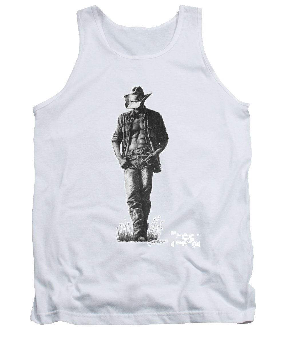 Man Tank Top featuring the drawing Cowboy by Marianne NANA Betts
