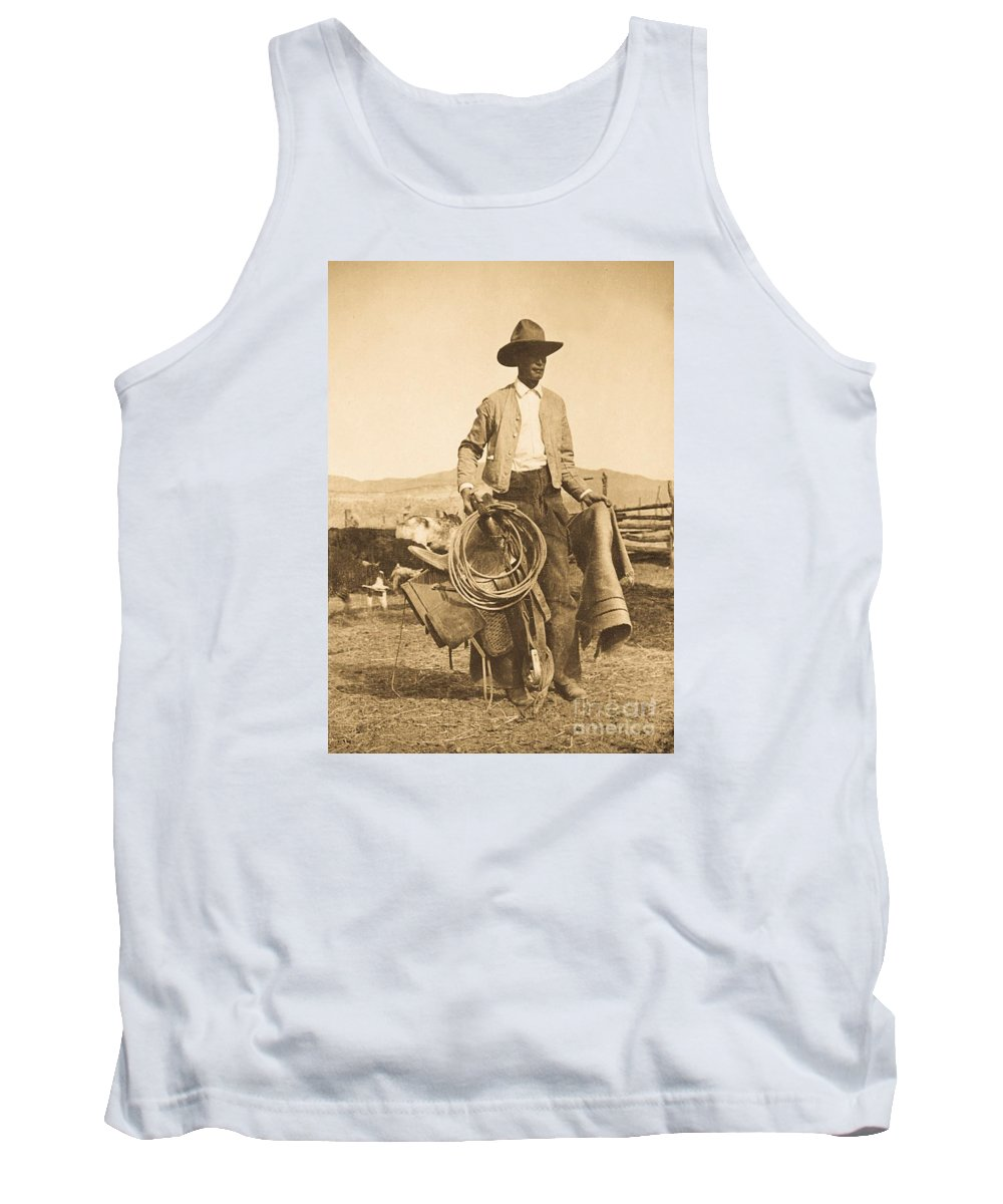 Vintage Photo From 1914. Cowboy Saddling Up For Round Up And Branding Season. The Ultimate Original Cowboy Photo Tank Top featuring the photograph Cowboy Up by Craig Nelson