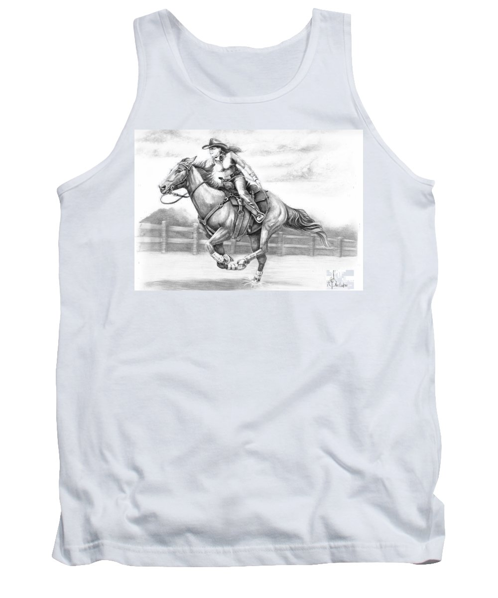 Pencil Tank Top featuring the drawing Cowgirl full gallop by Murphy Elliott