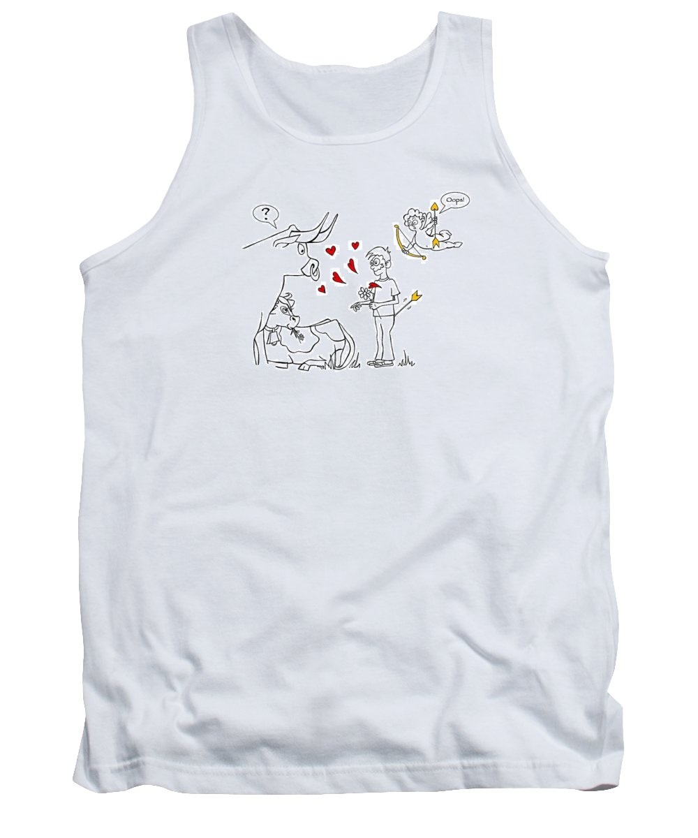 Valentine Tank Top featuring the drawing Cupid Valentines by Konni Jensen