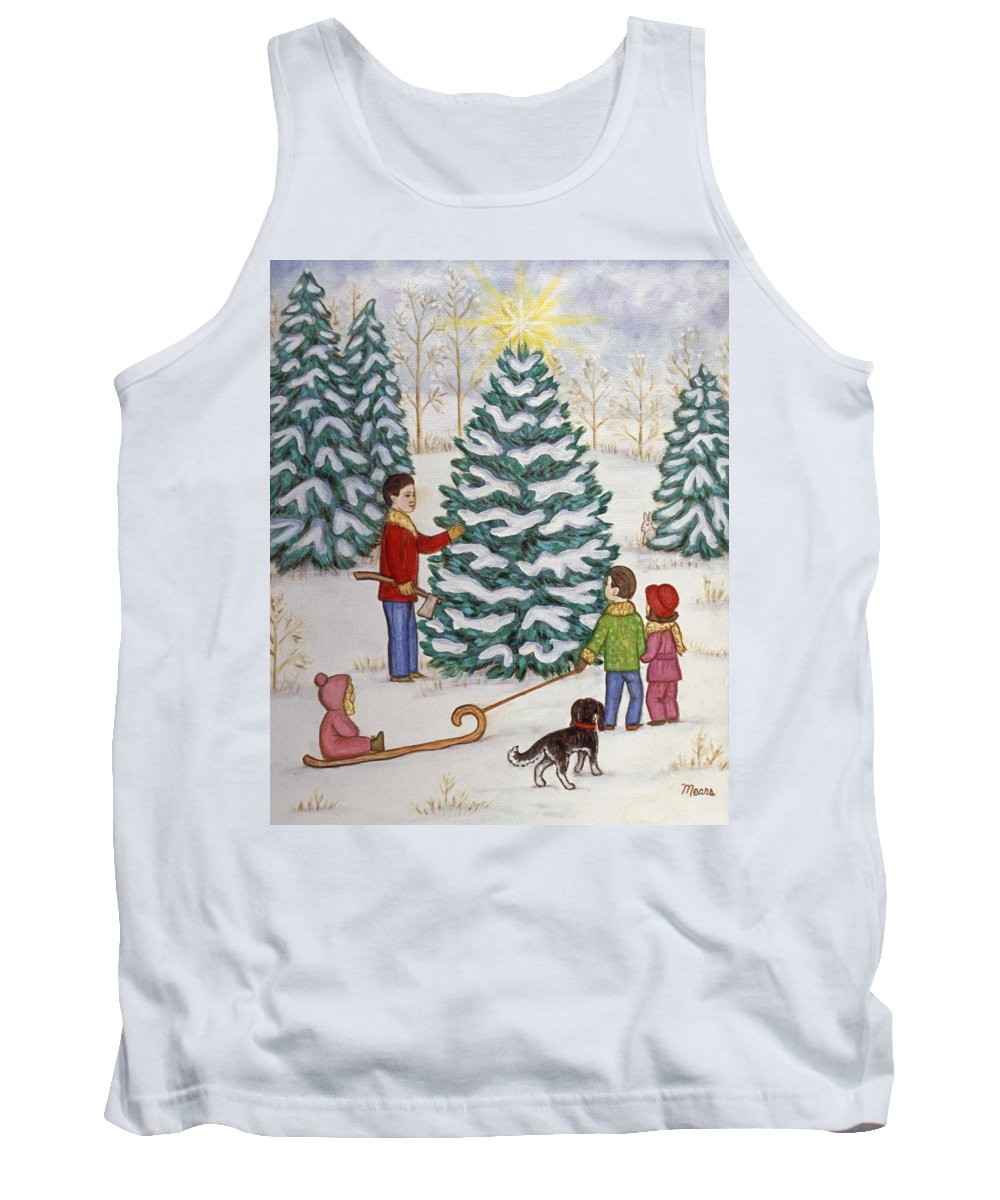 Christmas Tank Top featuring the painting Cutting Our Tree by Linda Mears