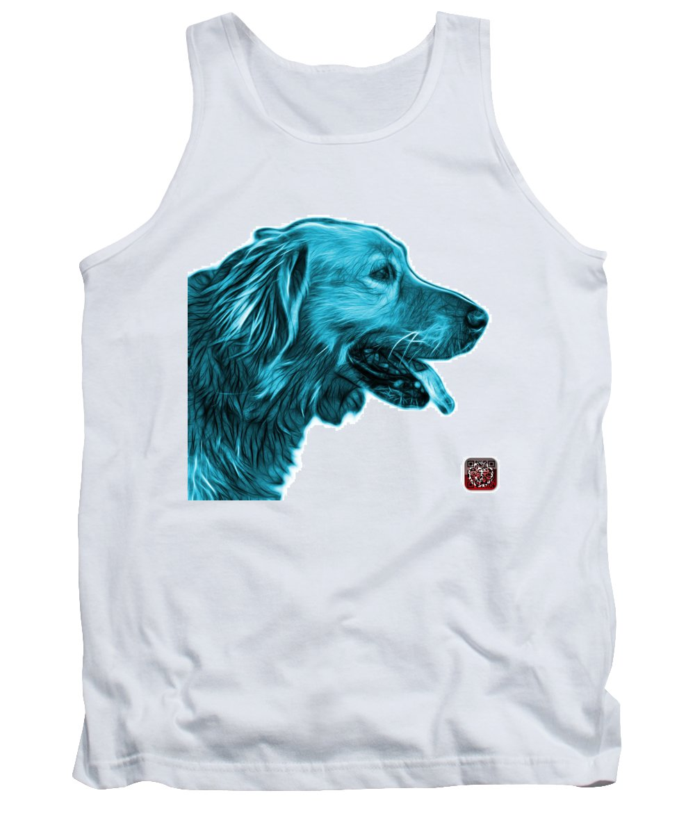 Golden Retriever Tank Top featuring the digital art Cyan Golden Retriever - 4047 Fs by James Ahn