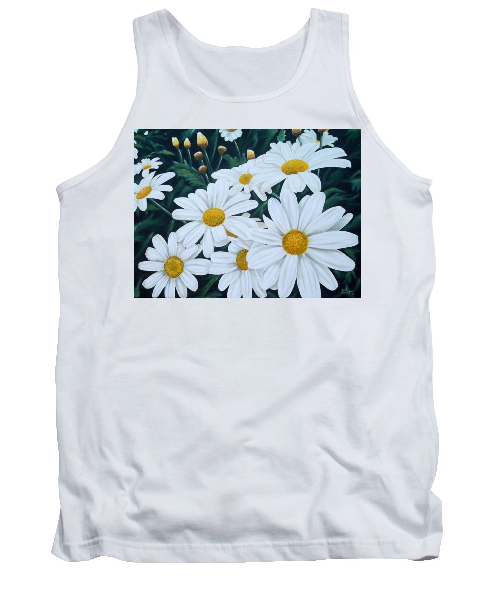 Floral Tank Top featuring the painting Daisies by Paul Bennett