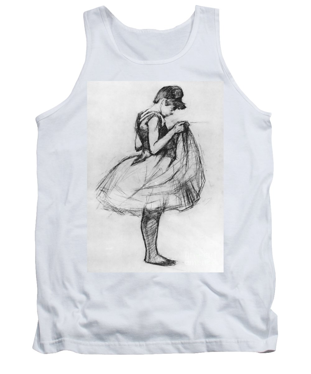 Ballet Tank Top featuring the drawing Dancer Adjusting Her Costume And Hitching Up Her Skirt by Henri de Toulouse-Lautrec