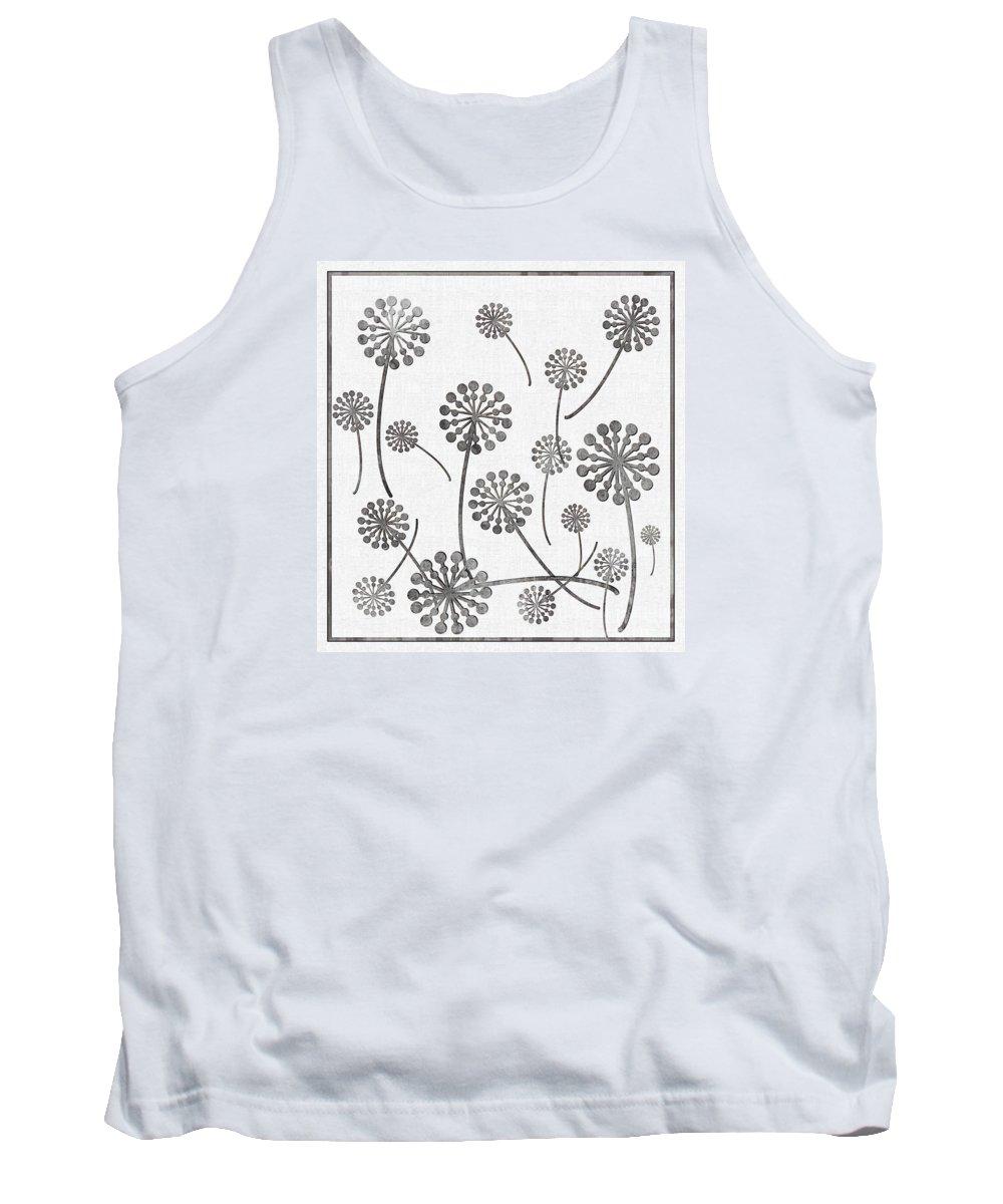 Dandelion Seeds Grey Tank Top featuring the digital art Dandelion Seeds Grey by Barbara Griffin