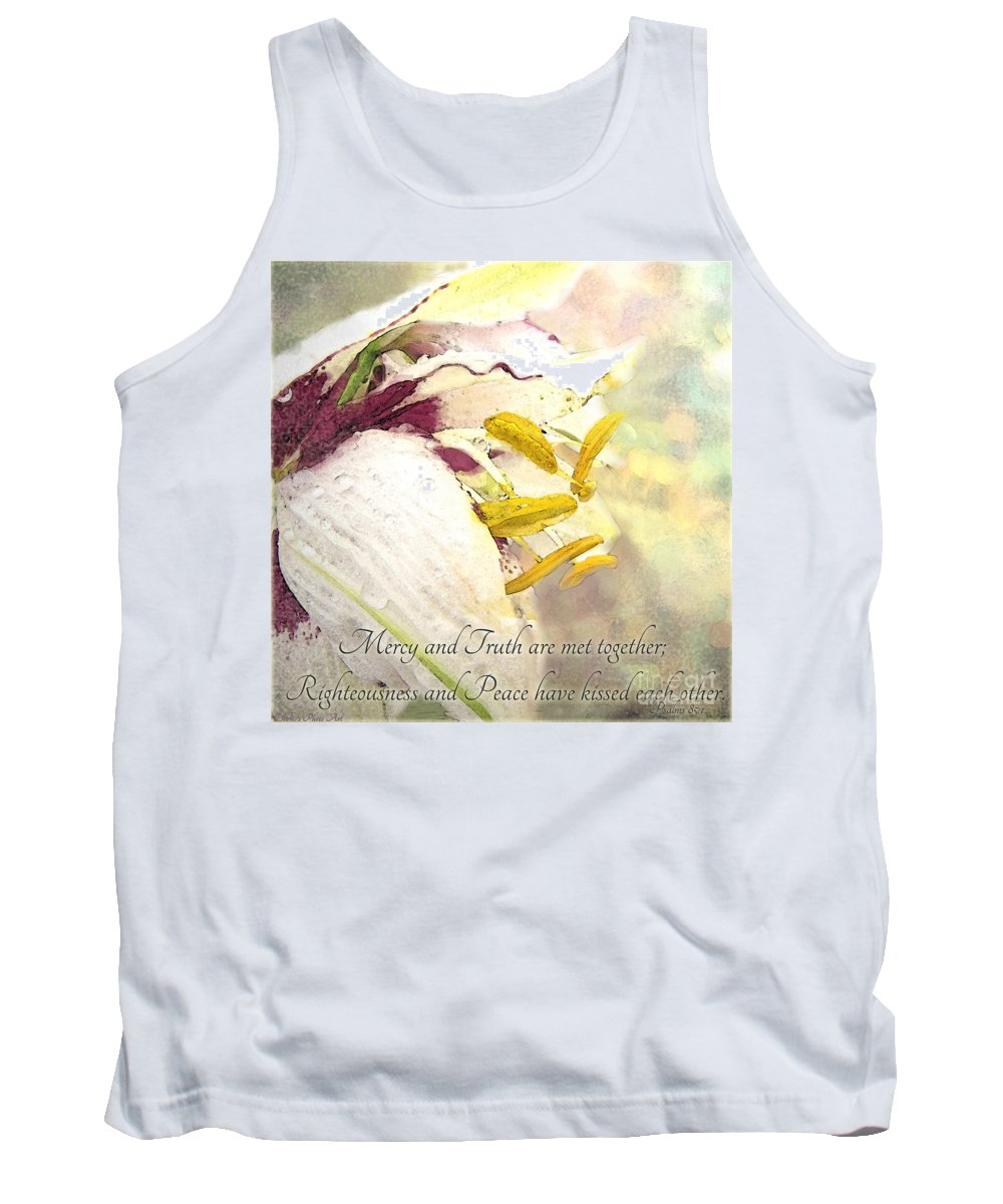 Nature Tank Top featuring the photograph Daylily Photoart With Verse by Debbie Portwood