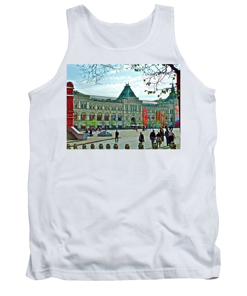 Daytime View Of Gum Tank Top featuring the photograph Daytime View Of Gum-former State Department Store-in Red Square In Moscow-russia by Ruth Hager