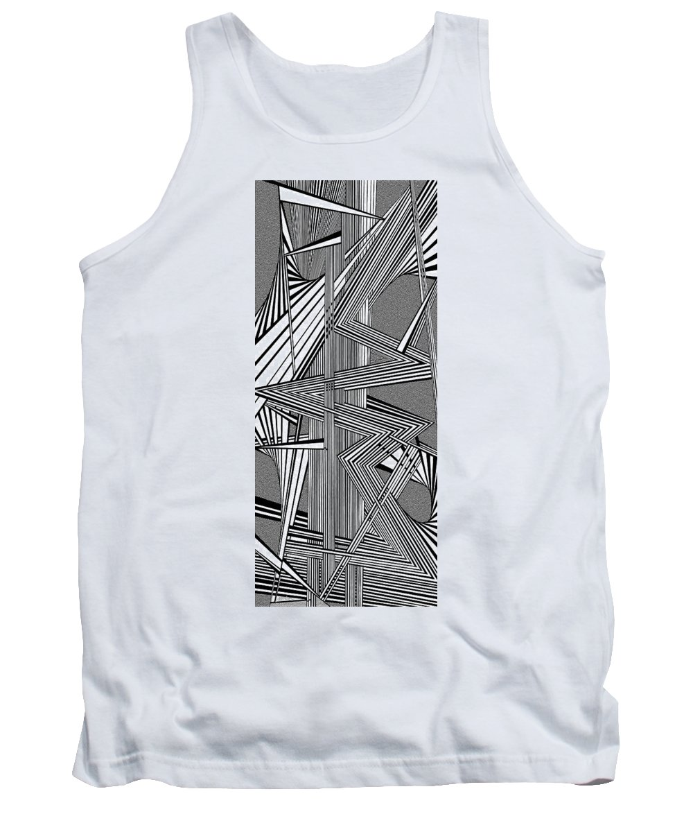 Dynamic Black And White Tank Top featuring the painting Deeper And Deeper by Douglas Christian Larsen