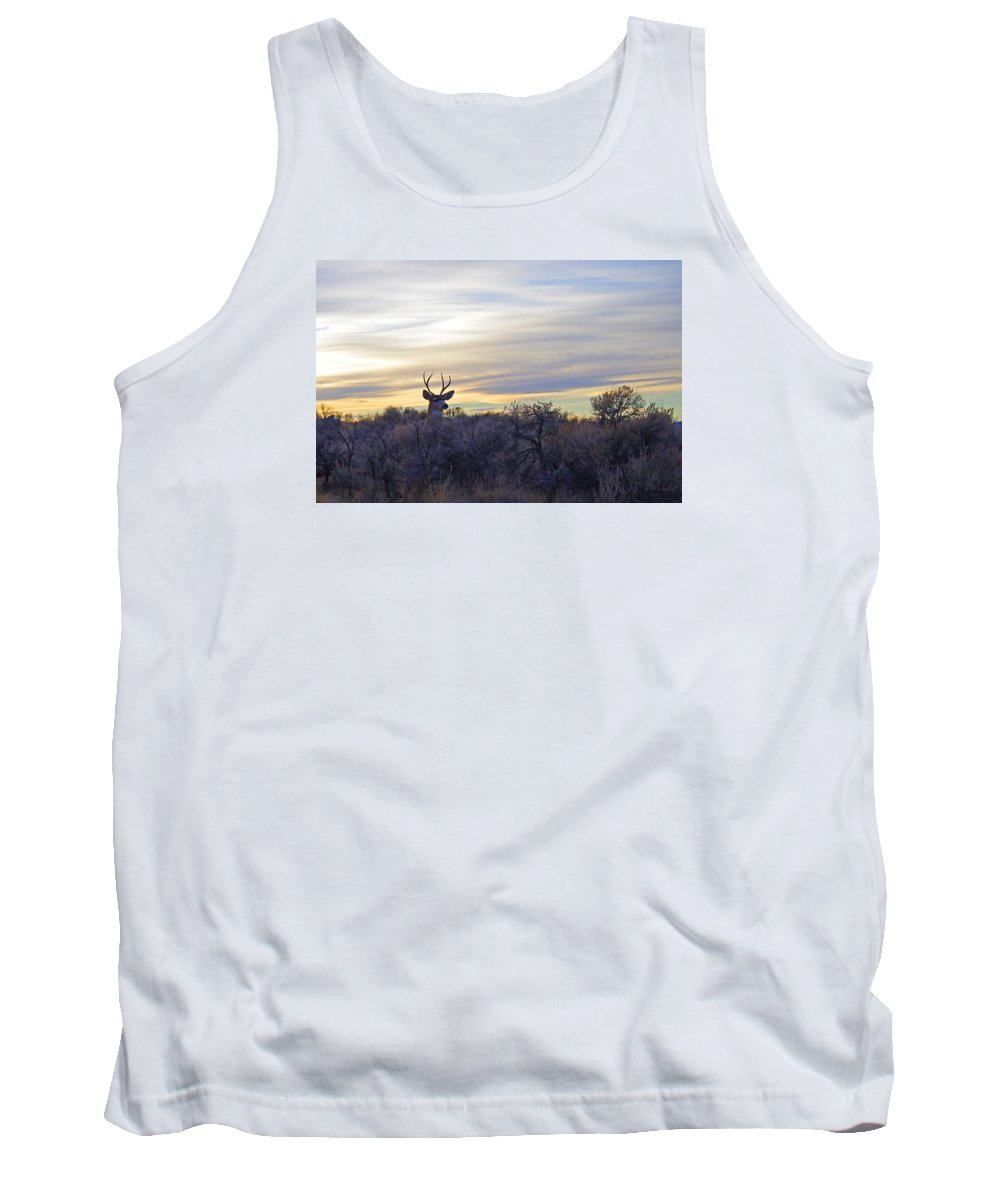 Mule Deer Tank Top featuring the photograph Deer Ridge - Sunset Buck by Mike and Sharon Mathews