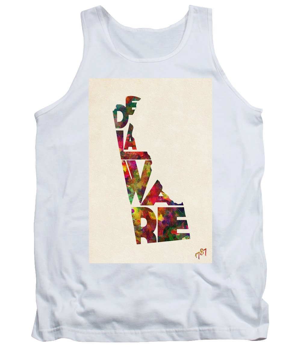 Delaware Tank Top featuring the painting Delaware Typographic Watercolor Map by Inspirowl Design