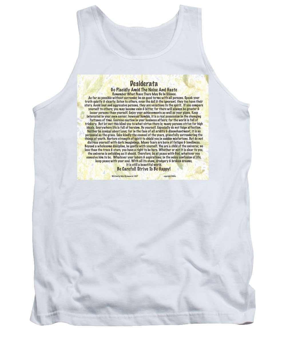 Desiderata Tank Top featuring the painting Desiderata On Leafy Watercolor by Desiderata Gallery