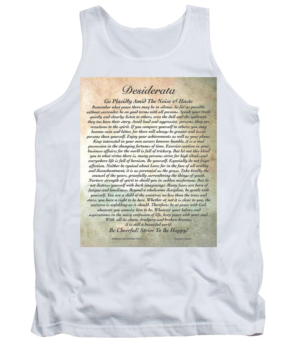 Desiderata Tank Top featuring the painting Desiderata On Mother Earth Watercolor by Desiderata Gallery